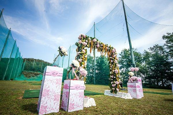 威海蓝天宾馆户外粉色系列浪漫婚礼